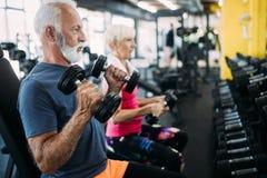 Pares desportivos superiores aptos que d?o certo junto no gym foto de stock royalty free