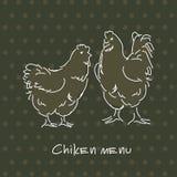 Pares dibujados mano del pollo Foto de archivo libre de regalías