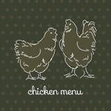 Pares dibujados mano del pollo Fotografía de archivo
