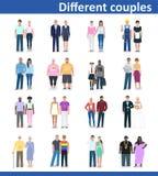 Pares diferentes, ilustração do vetor Fotografia de Stock Royalty Free
