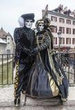 Pares disfrazados - carnaval veneciano 2013 de Annecy Fotografía de archivo libre de regalías