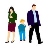 Pares divorciados y niño solo Foto de archivo libre de regalías
