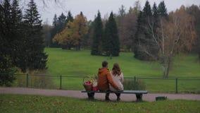 Pares do amor no banco Pares novos que sentam-se no banco no parque Vista traseira Um par está sentando-se em um banco que contem vídeos de arquivo