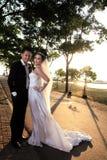 Pares do casamento ao ar livre Foto de Stock Royalty Free