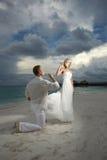 Pares do casamento, champanhe bebendo dos noivos sob o threate Fotografia de Stock