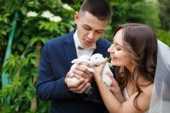 Pares do casamento com dois coelhos pequenos Imagens de Stock Royalty Free