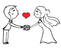 Pares do casamento dos desenhos animados Fotografia de Stock