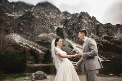 Pares do casamento que andam e que guardam as m?os na costa do lago Dia ensolarado em montanhas de Tatra foto de stock royalty free