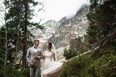 Pares do casamento que andam perto do lago em montanhas de Tatra no Pol?nia Morskie Oko Dia de ver?o bonito imagem de stock royalty free