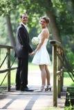Pares do casamento que estão na ponte Fotografia de Stock Royalty Free