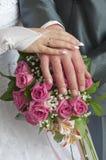 Pares do casamento que mostram anéis Fotos de Stock Royalty Free