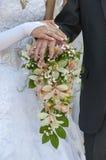 Pares do casamento que mostram anéis Fotos de Stock