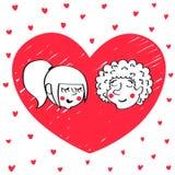 Pares do estilo da garatuja do vetor no amor ilustração stock
