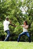 Pares do exercício das artes marciais fotografia de stock