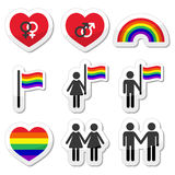 Pares do gay e lesbiana, ícones do arco-íris ajustados Imagem de Stock