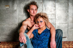 Pares do modelo de forma do homem/homem e da fêmea/mulher Fotografia de Stock Royalty Free