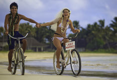 Pares do Newlywed na praia Fotografia de Stock Royalty Free