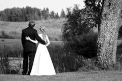 Pares do Newlywed no campo Foto de Stock Royalty Free