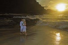 Pares do Newlywed no nascer do sol foto de stock royalty free