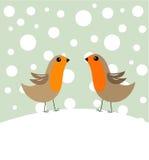 Pares do pássaro no inverno Fotos de Stock Royalty Free