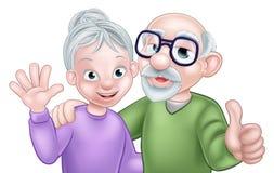 Pares do sênior dos desenhos animados Fotografia de Stock Royalty Free
