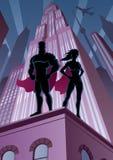 Pares 5 do super-herói ilustração stock