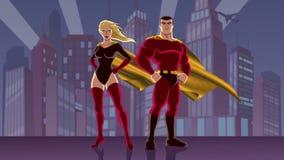 Pares 2 do super-herói ilustração stock