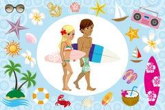 Pares do surfista e ícone do mar ilustração stock