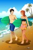 Pares do surfista na praia ilustração do vetor