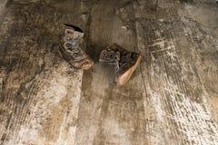 Pares do vintage de botas da criança da era 1940's Imagens de Stock Royalty Free