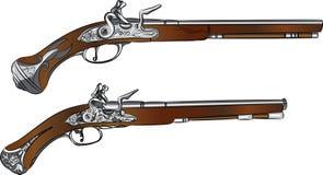 Pares do vintage do vetor de pistolas Imagens de Stock Royalty Free