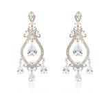 Pares dos brincos de prata do diamante isolados no branco Fotos de Stock Royalty Free