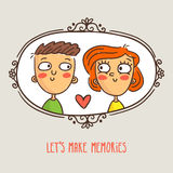 Pares dos desenhos animados no amor, imagem quadro com subtítulo bonito ilustração stock