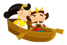 Pares dos desenhos animados no barco - isolado Fotos de Stock Royalty Free