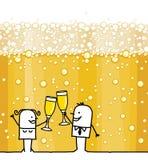 Pares dos desenhos animados que bebem o fundo de Champagne e de bolhas ilustração royalty free