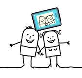 Pares dos desenhos animados que enviam uma imagem dse Foto de Stock