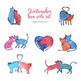 Pares dos gatos da aquarela ilustração do vetor