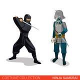 Pares dos lutadores da batalha do guerreiro de Ninja Samurai Japanese Foto de Stock