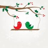 Pares dos pássaros do amor sob a árvore ilustração stock