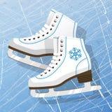Pares dos patins de gelo brancos Figura patins Patins de gelo do ` s das mulheres Textura da superfície do gelo Fundo da ilustraç Foto de Stock