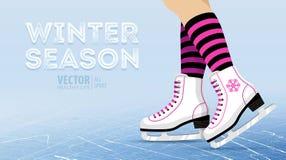 Pares dos patins de gelo brancos Patinagem artística Patins de gelo do ` s das mulheres Foto de Stock Royalty Free