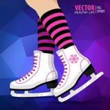 Pares dos patins de gelo brancos Patinagem artística Patins de gelo do ` s das mulheres Fotos de Stock Royalty Free