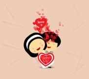 Pares dulces del amor del día de tarjetas del día de San Valentín con los corazones Fotografía de archivo