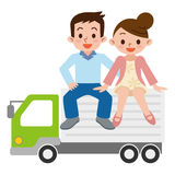 Pares e caminhão felizes ilustração royalty free