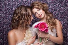 Pares elegantes de duas meninas Fotos de Stock Royalty Free