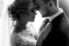 Pares elegantes de la boda que abrazan suavemente en luz del sol en courtya viejo Fotografía de archivo