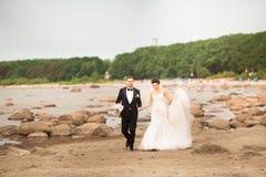 Pares elegantes de la boda que se colocan en orilla de mar Los recienes casados est imagenes de archivo