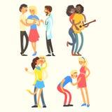 Pares em atividades do amor, ilustração do vetor Foto de Stock Royalty Free