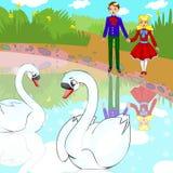 Pares em cisnes do amor ilustração do vetor