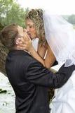 Pares em seu dia do casamento Imagens de Stock